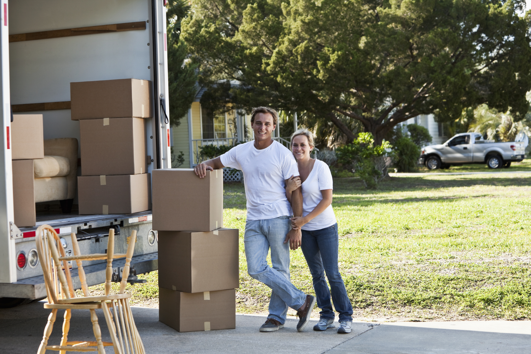 young couple shifting house